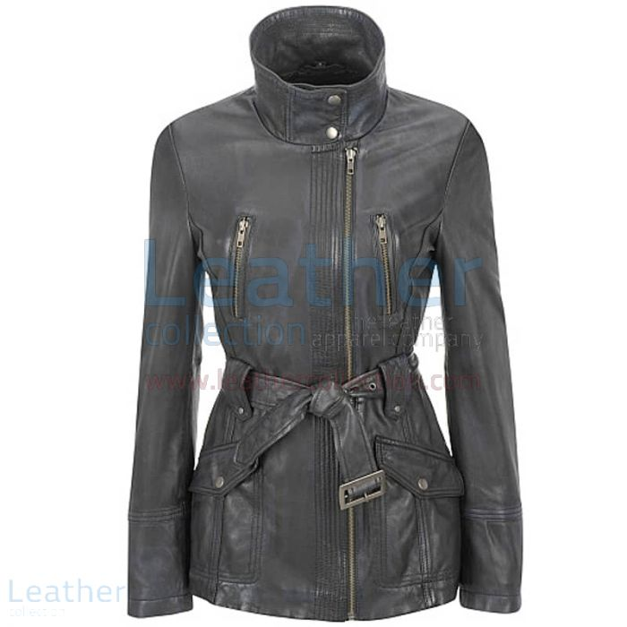 BELTED WOMENS LEATHER TRENCH COAT