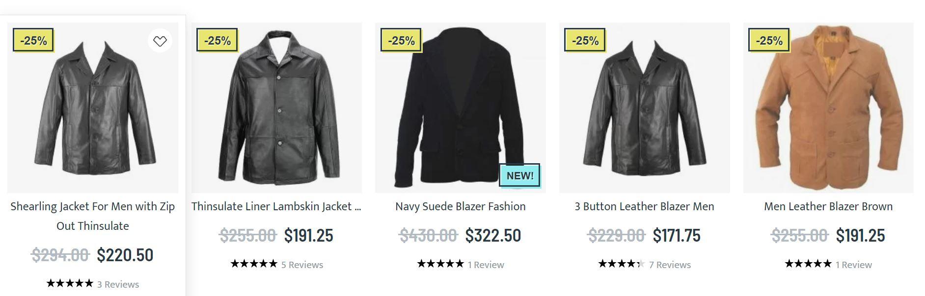 Mens leather blazer jacket