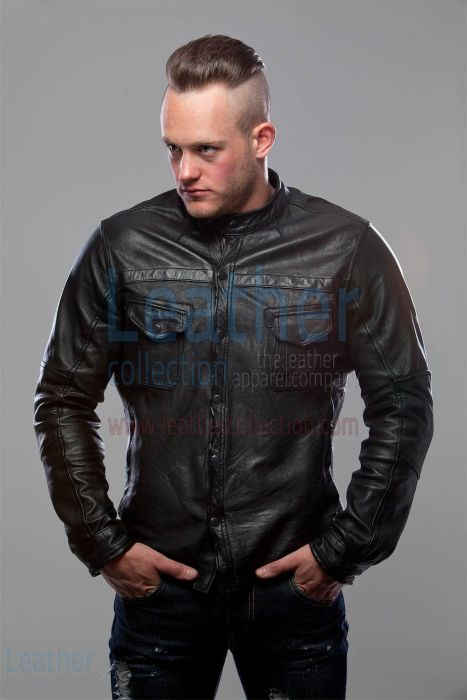 Black leather shirt mens