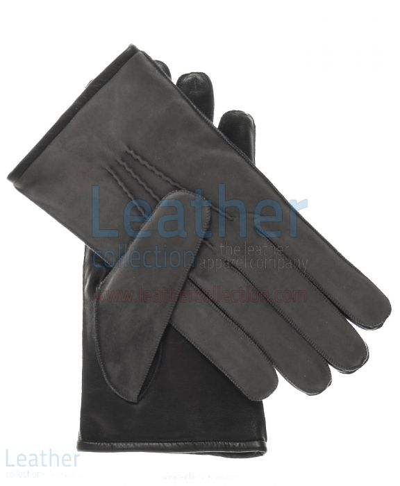 Blue suede gloves