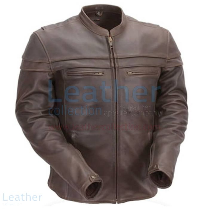 Leather jacket with collar