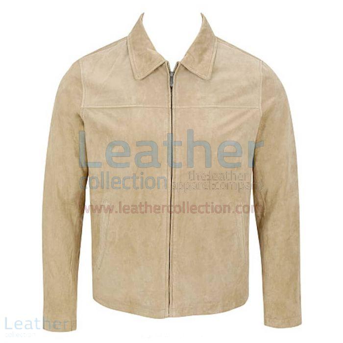 Mens suede jacket with fur collar