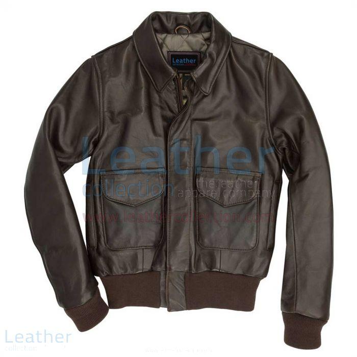 Leather flight bomber jacket