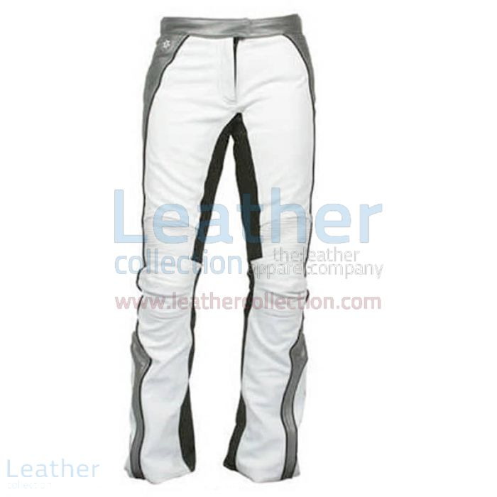 Women white leather motorcycle pants